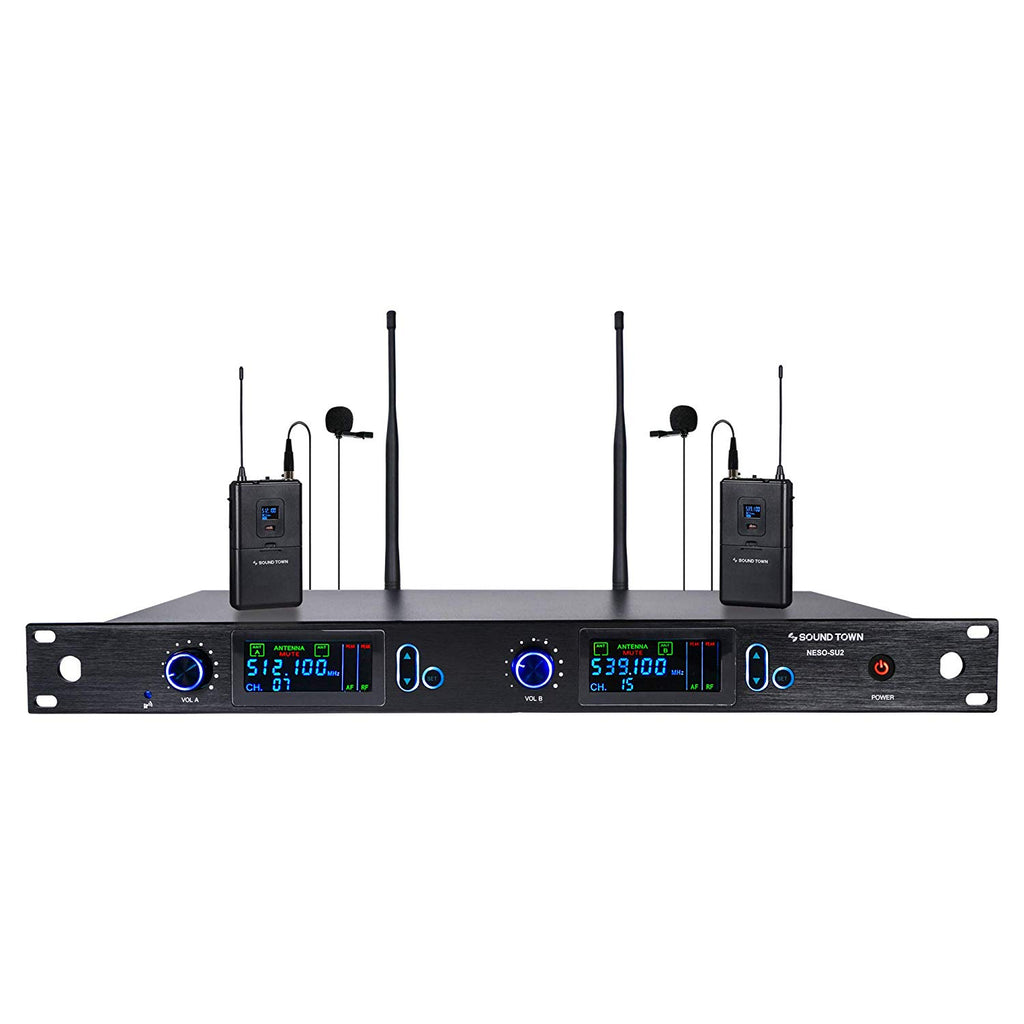Sound Town NESO-SU2LL NESO Series Metal 200 Channels Professional UHF Wireless Microphone System with Rack Mountable Receiver, 2 Lavalier Mics and Auto Scan, for Church, School, Meeting, Party and Karaoke