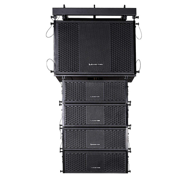 ZETHUS Series Line Array Speaker System with One 15-inch Powered Line Array Subwoofer, Four Compact 2 X 5-inch Line Array Speakers, Black (ZETHUS-115SPW205V2X4)