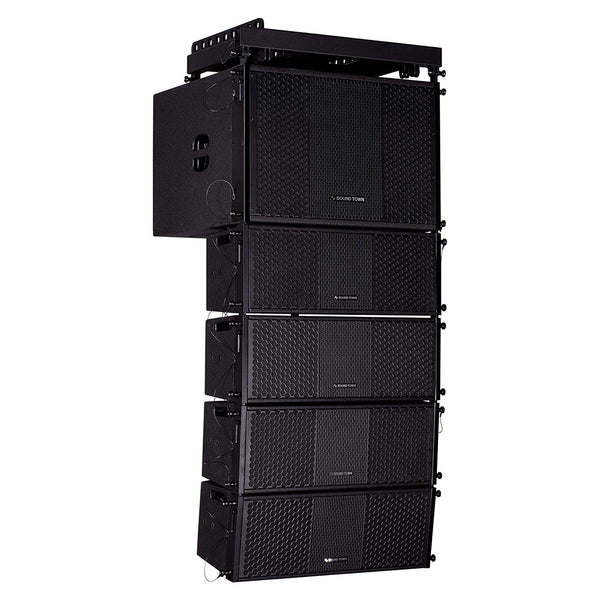 Sound Town ZETHUS Series Line Array Speaker System with One 15-inch Line Array Subwoofer, Four Compact 2 X 8-inch Line Array Speakers, Black (ZETHUS-115S208X4)