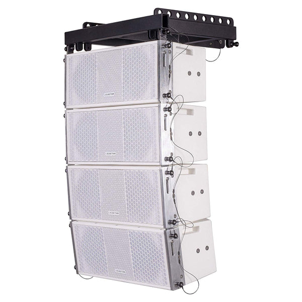 Sound Town ZETHUS Series Line Array Speaker System with Four White Compact 2 X 8-inch Line Array Speakers, White (ZETHUS-208WV2X4)