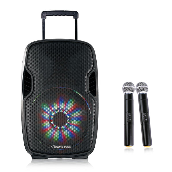 15-inch 2-Way Powered Portable PA Speaker with Built-in Rechargeable Battery/2 Wireless Mics/Bluetooth/USB/SD Card Reader/LED light (Öpik-15PS)