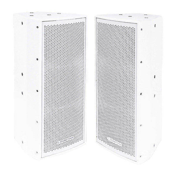 "CARME-208WV2-PAIR<br/>CARME Series 2-Pack Dual 8"" 600W 2-Way Professional PA DJ Speaker Set, White with Compression Driver for Installation, Live Sound, Karaoke, Bar, Church"