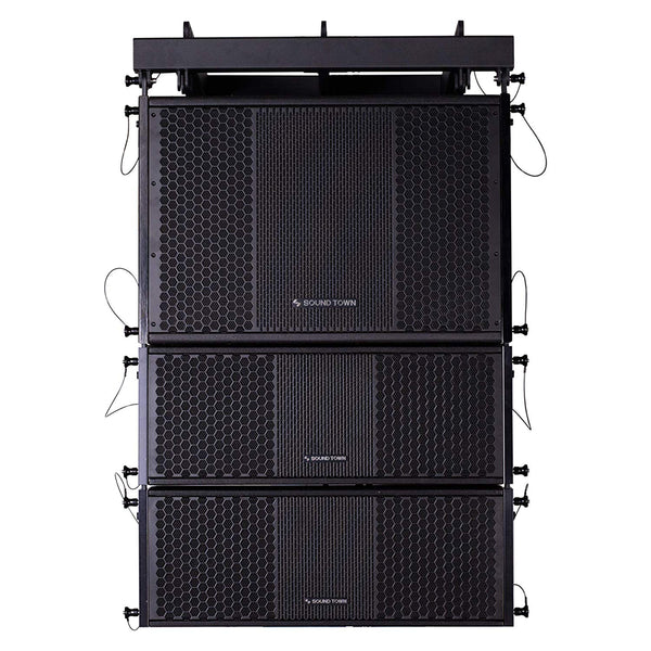 ZETHUS Series Line Array Speaker System with One 15-inch Powered Line Array Subwoofer, Two Compact 2 X 8-inch Line Array Speakers, Black (ZETHUS-115SPW208X2)