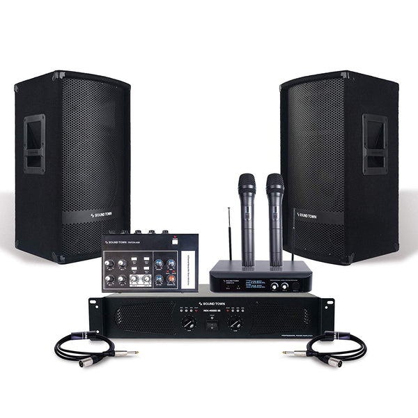 "Professional PA System Set w/ 12"" Full Range PA Speakers, 2-Channel Power Amplifier, Microphone System, Mini Mixer, Cables (METIS112-SWM10-NIX-S1)"