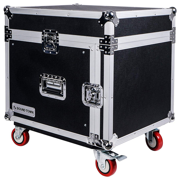 8-Space PA/DJ Rack/Road Case with Slant Mixer Top and Casters (STMR-8UW)