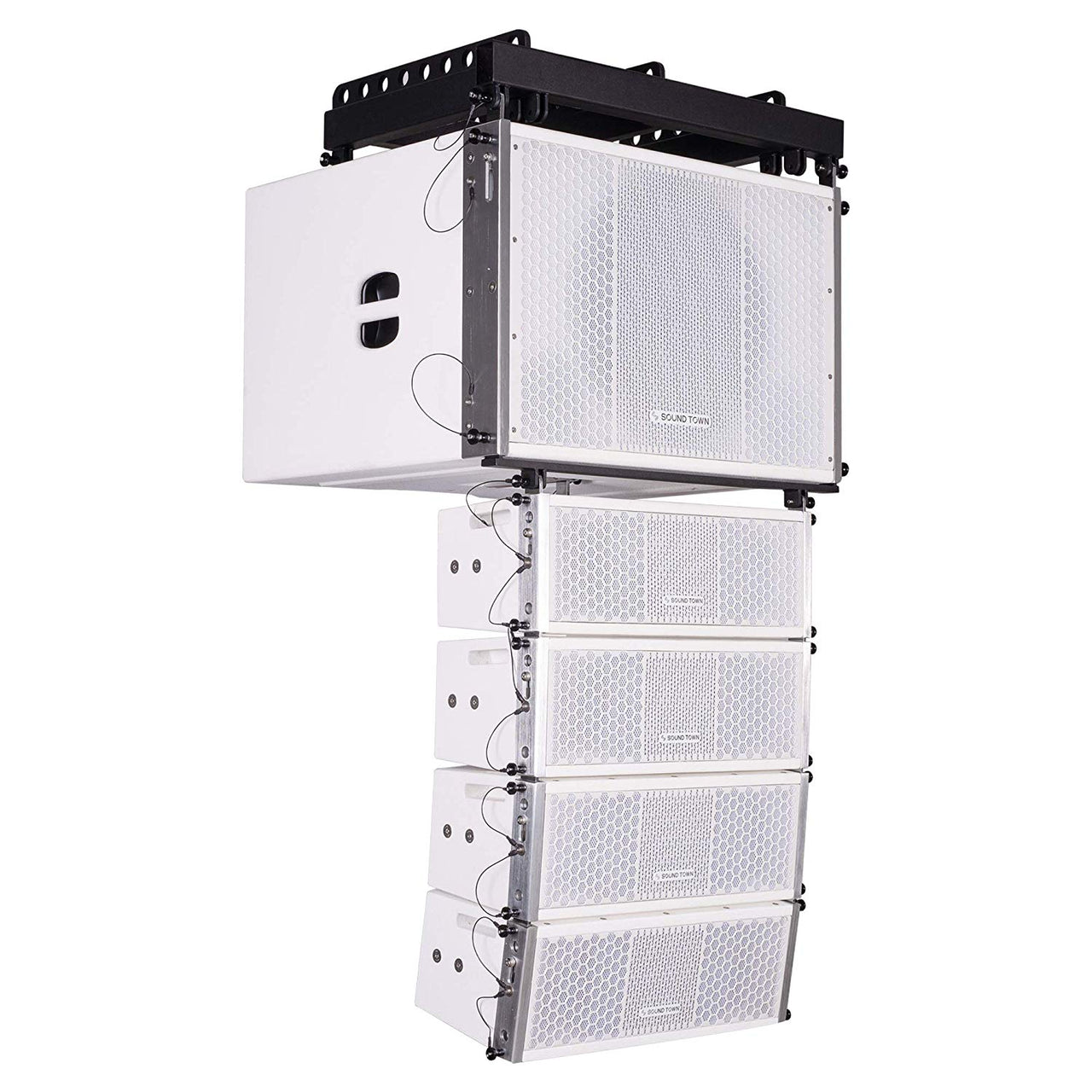 ZETHUS Series Line Array Speaker System with One 15-inch Powered Line Array Subwoofer, Four Compact 2 X 5-inch Line Array Speakers, White (ZETHUS-115SWPW205WV2X4)