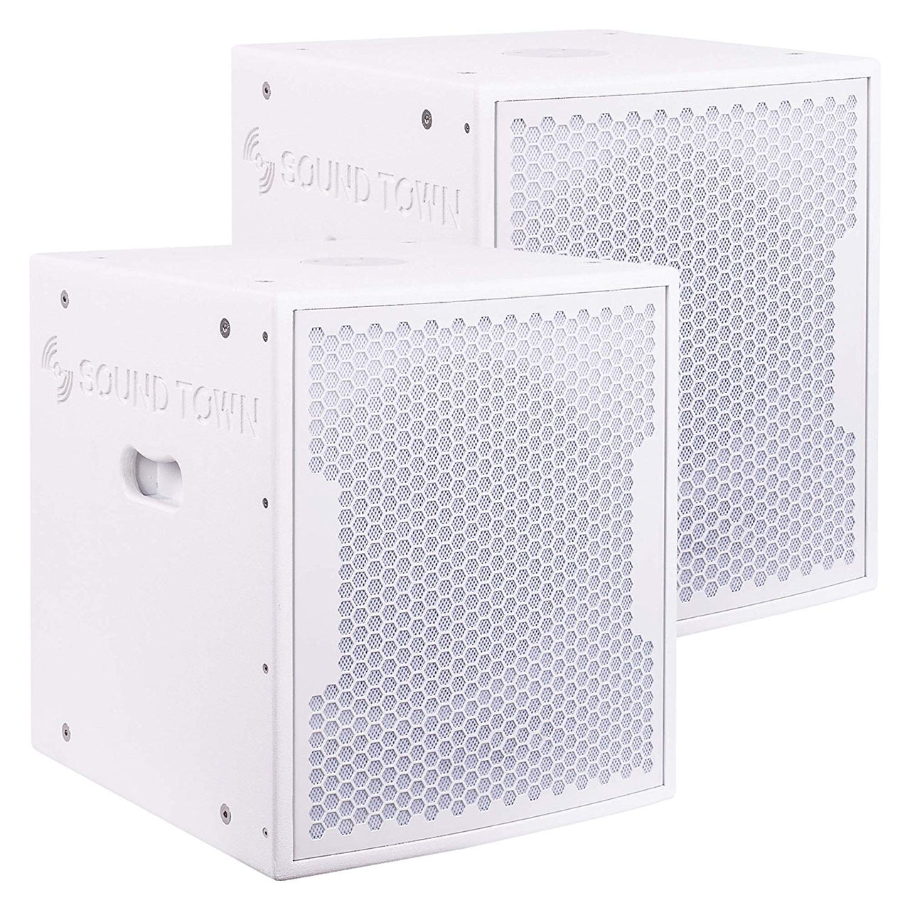 "CARPO-15SWPW-PAIR<br/>CARPO Series 2-Pack 15"" 3200 Watts Powered PA DJ Subwoofers w/ Speaker Outputs, Plywood Enclosure, Wheels, White"