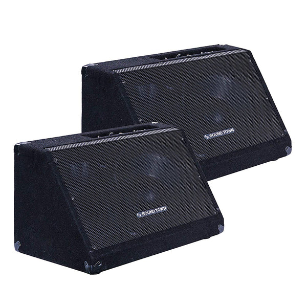 "METIS-12MPW-PAIR <br/> METIS Series 2-Pack 12"" 500W Powered DJ PA Stage Floor Monitor Speakers with Compression Driver for Live Sound, Bar, Church"