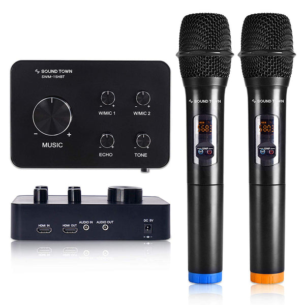 SWM15-HBT <br/>16-Channel Wireless Karaoke Mixer System with Bluetooth, HDMI, AUX, & 2 Handheld Microphones, Works with Media Box, PC, Home Theater & More