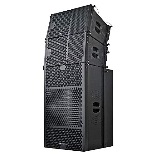 Sound Town ZETHUS-215S110X2 ZETHUS Series Line Array Speaker System with One Dual 15-inch Line Array Subwoofer, Two Compact 10-inch Line Array Speakers, Black