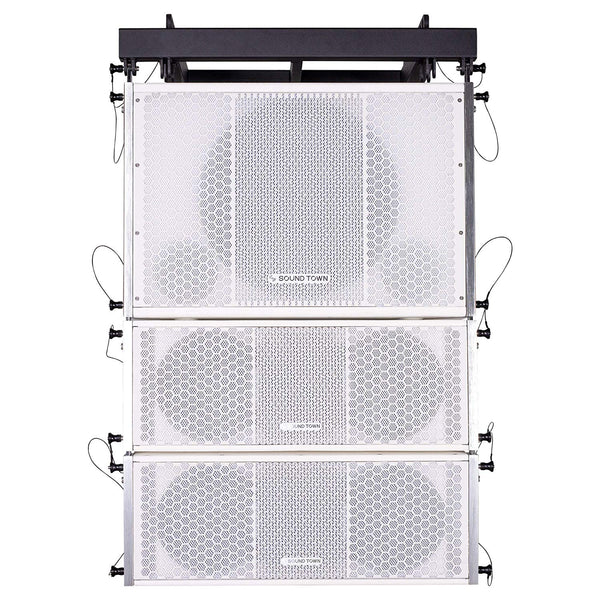 ZETHUS Series Line Array Speaker System with One 15-inch Powered Line Array Subwoofer, Two Compact 2 X 8-inch Line Array Speakers, White (ZETHUS-115SWPW208WV2X2)