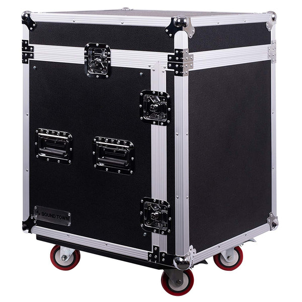 12-Space PA/DJ Pro Audio Rack/Road Case with Slant Mixer Top (STMR-12UW)