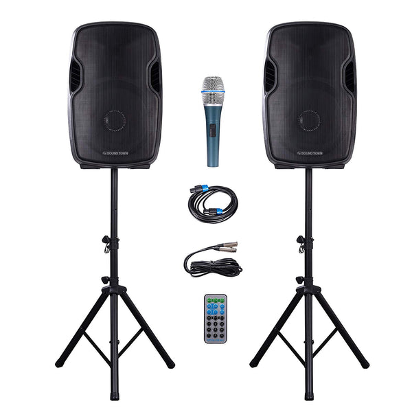 "Portable 15"" 2-Way PA Speaker System Combo Set (DEIMOS-15PSC)"