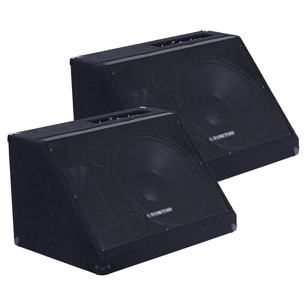 "METIS-15MPW-PAIR <br/> METIS Series 2-Pack 15"" 600W Powered DJ PA Stage Floor Monitor Speakers with Compression Driver for Live Sound, Bar, Church"