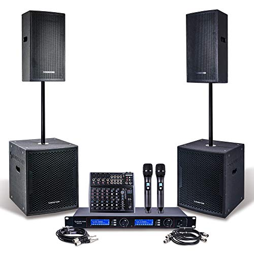 "Professional PA System Set with 15"" Powered PA speakers, 18"" Powered Subwoofers, 200-Channel Wireless Microphone System, 12-Channel Audio Mixer and Audio Cables (CARME115118-NESO-S1)"