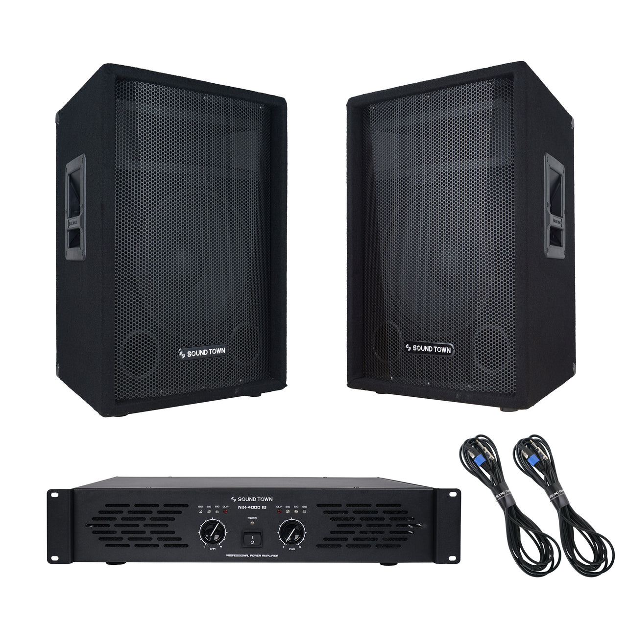 Sound Town CALLISTO-12STAS1 Professional PA System with Pair of 12-inch Speakers, One Dual-Channel Power Amplifier and Audio Cables