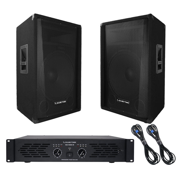 Sound Town CALLISTO-15STAS1 Professional PA System with Pair of 15-inch Speakers, One Dual-Channel Power Amplifier and Audio Cables