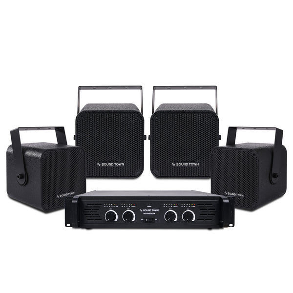 Sound Town CARME-105BNIX Installation Speaker System with 4 x 5 inch Coaxial Black Loudspeakers and 1 x 4-Channel 6000W Peak Output Professional Power Amplifier for Restaurants, Lounges, Bars, Schools, Churches - Main