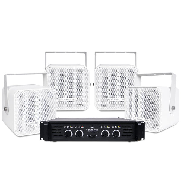 "CARME-105WNIX<br/>Installation Speaker System with 4 x 5"" Coaxial White Loudspeakers and 1 x 4-Channel 6000W Peak Output Professional Power Amplifier for Restaurants, Lounges, Bars, Schools, Churches"