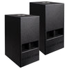 "Sound Town CARME-110SPW-PAIR CARME Series Pair of 10"" 600 Watts Powered PA DJ Subwoofers with Folded Horn Design, Black"