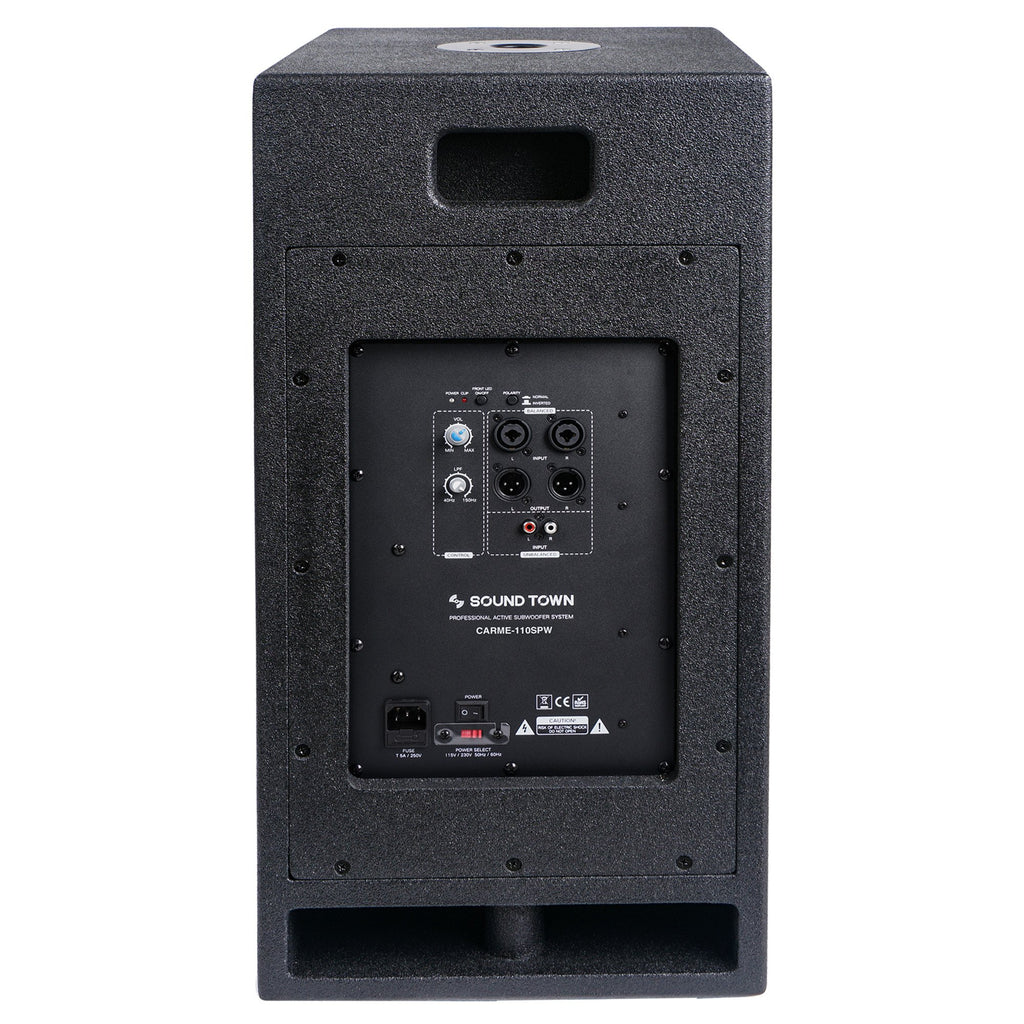 "Sound Town CARME-110SPW CARME Series 10"" 600W Powered PA/DJ Subwoofer with Folded Horn Design, Black - Back Panel"