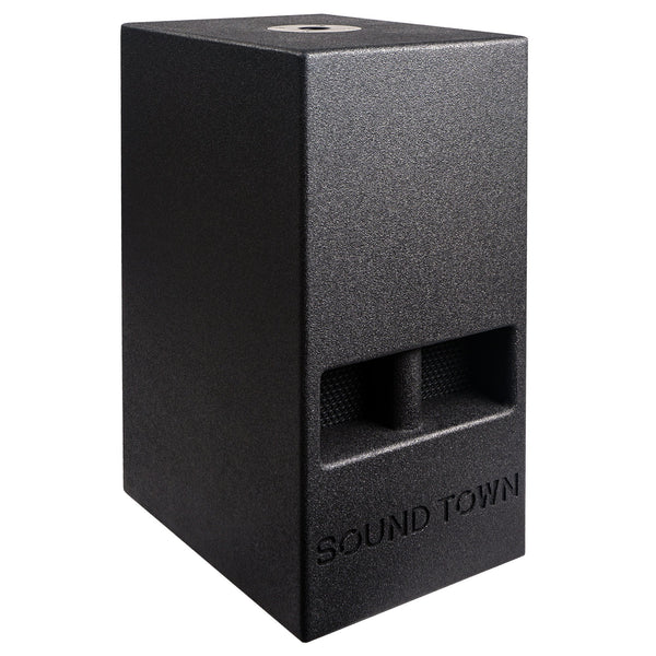 "Sound Town CARME-110SPW CARME Series 10"" 600W Powered PA/DJ Subwoofer with Folded Horn Design, Black - Right Panel"