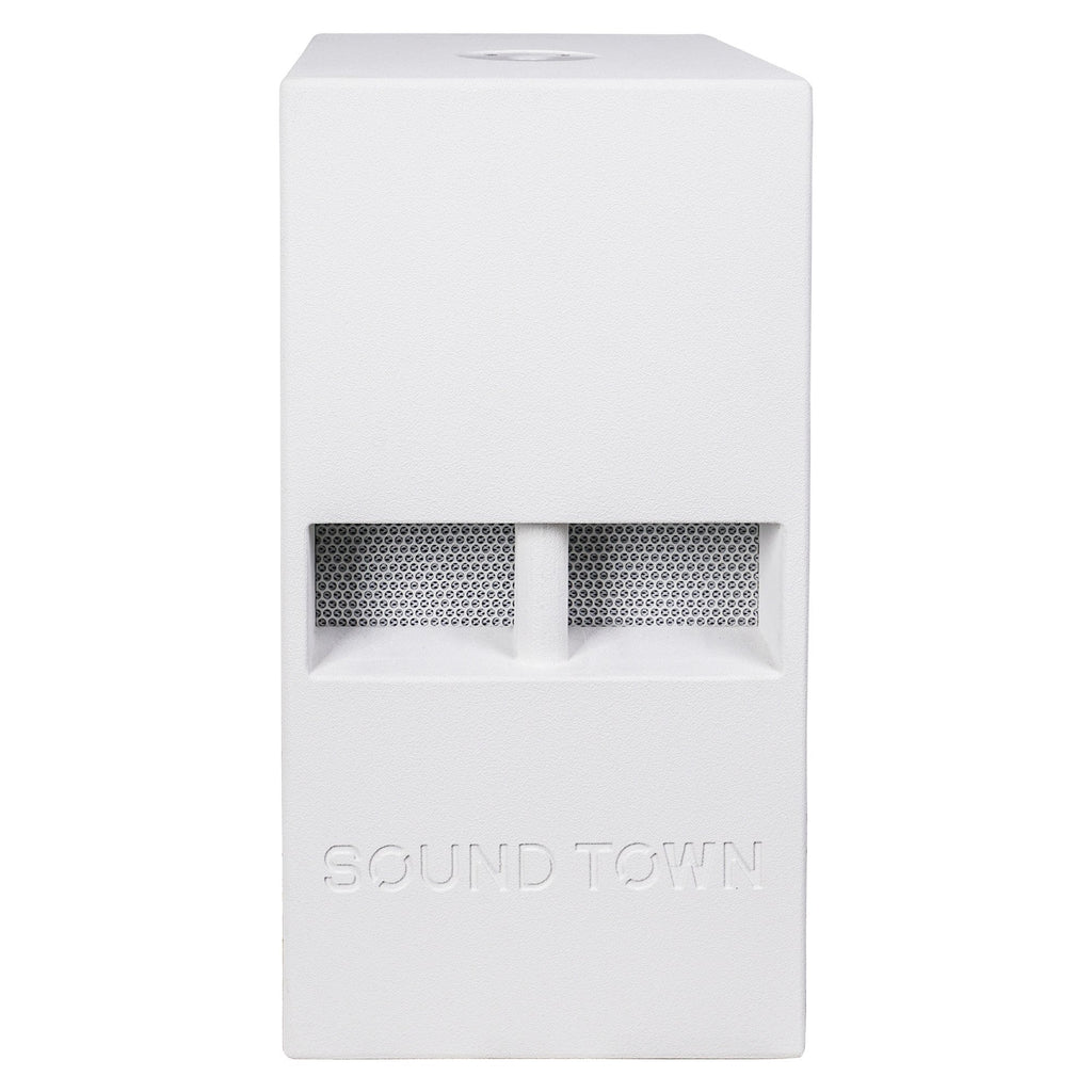 "Sound Town CARME-110SWPW-PAIR CARME Series 10"" 600W Powered PA/DJ Subwoofer with Folded Horn Design, White - Front Panel"