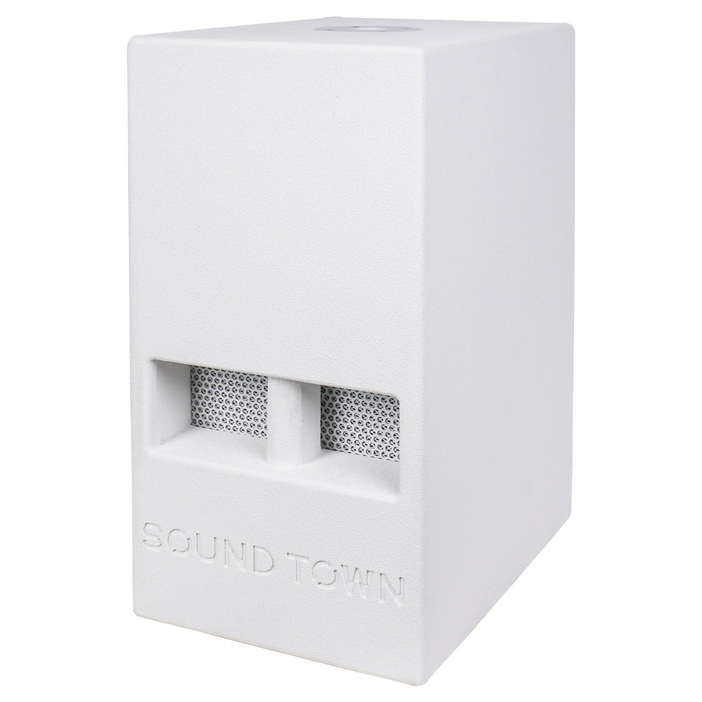 "Sound Town CARME-110SWPW-PAIR CARME Series 10"" 600W Powered PA/DJ Subwoofer with Folded Horn Design, White - Left Panel"