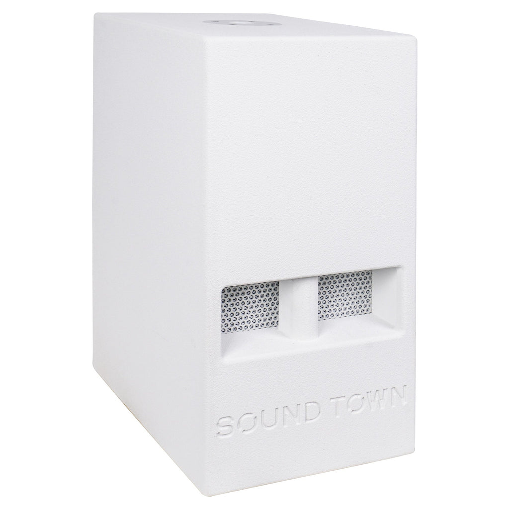 "Sound Town CARME-110SWPW-PAIR CARME Series 10"" 600W Powered PA/DJ Subwoofer with Folded Horn Design, White - Right Panel"