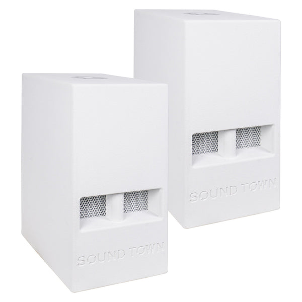 "Sound Town CARME-110SWPW-PAIR CARME Series 2-Pack 10"" 600 Watts Powered PA DJ Subwoofers with Folded Horn Design, White"