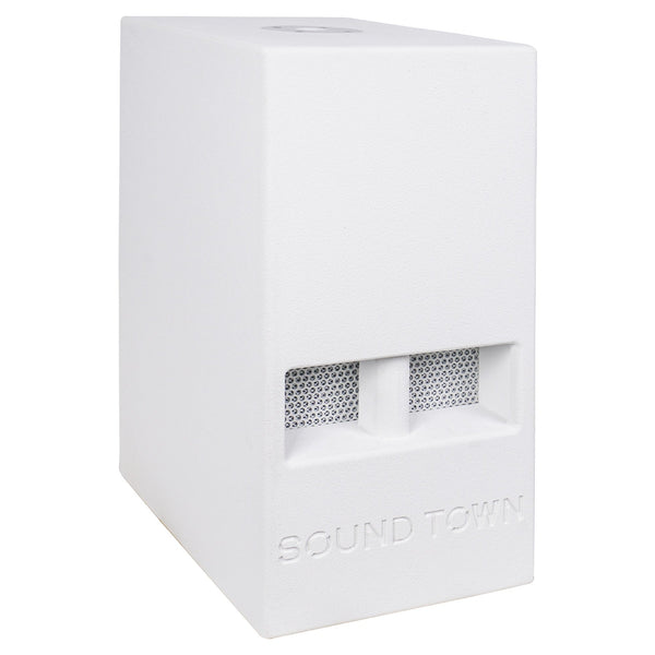 "Sound Town CARME-110SWPW CARME Series 10"" 600W Powered PA/DJ Subwoofer with Folded Horn Design, White - Right Panel"