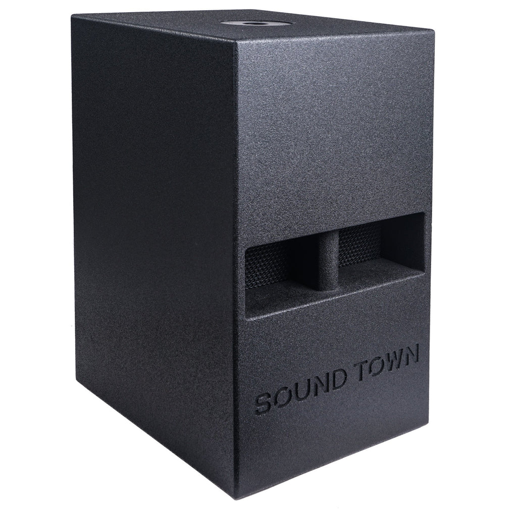 "Sound Town CARME-112SPW-PAIR CARME Series 10"" 600W Powered PA/DJ Subwoofer with Folded Horn Design, Black - Right Panel"