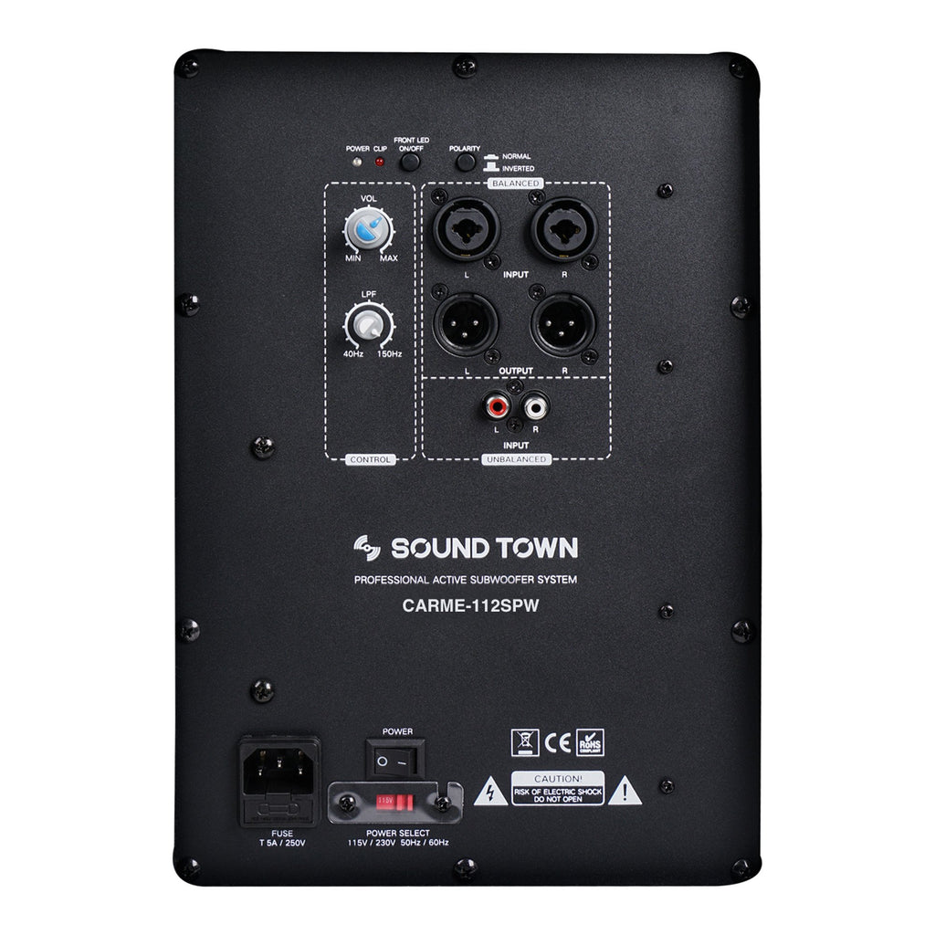 "Sound Town CARME-112SPW-V5PW CARME Series 10"" 600W Powered PA/DJ Subwoofer with Folded Horn Design, Black - Amp Plate"