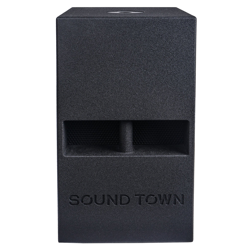 "Sound Town CARME-112SPW-V5PW CARME Series 10"" 600W Powered PA/DJ Subwoofer with Folded Horn Design, Black - Front Panel"