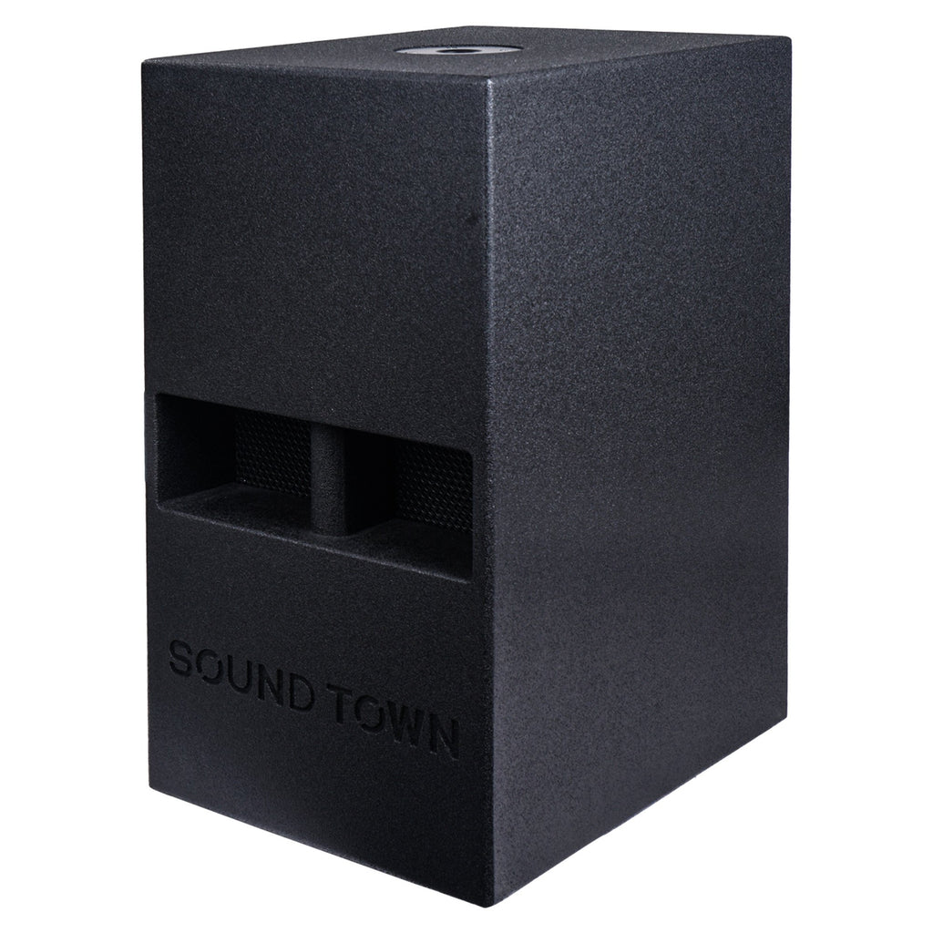 "Sound Town CARME-112SPW-V5PW CARME Series 10"" 600W Powered PA/DJ Subwoofer with Folded Horn Design, Black - Left Panel"