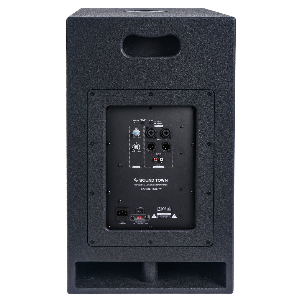 "Sound Town CARME-112SPW CARME Series 12"" 800W Powered PA/DJ Subwoofer with Folded Horn Design, Black - Back Panel"