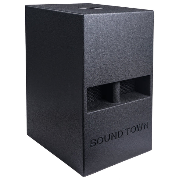 "Sound Town CARME-112SPW CARME Series 12"" 800W Powered PA/DJ Subwoofer with Folded Horn Design, Black - Right Panel"