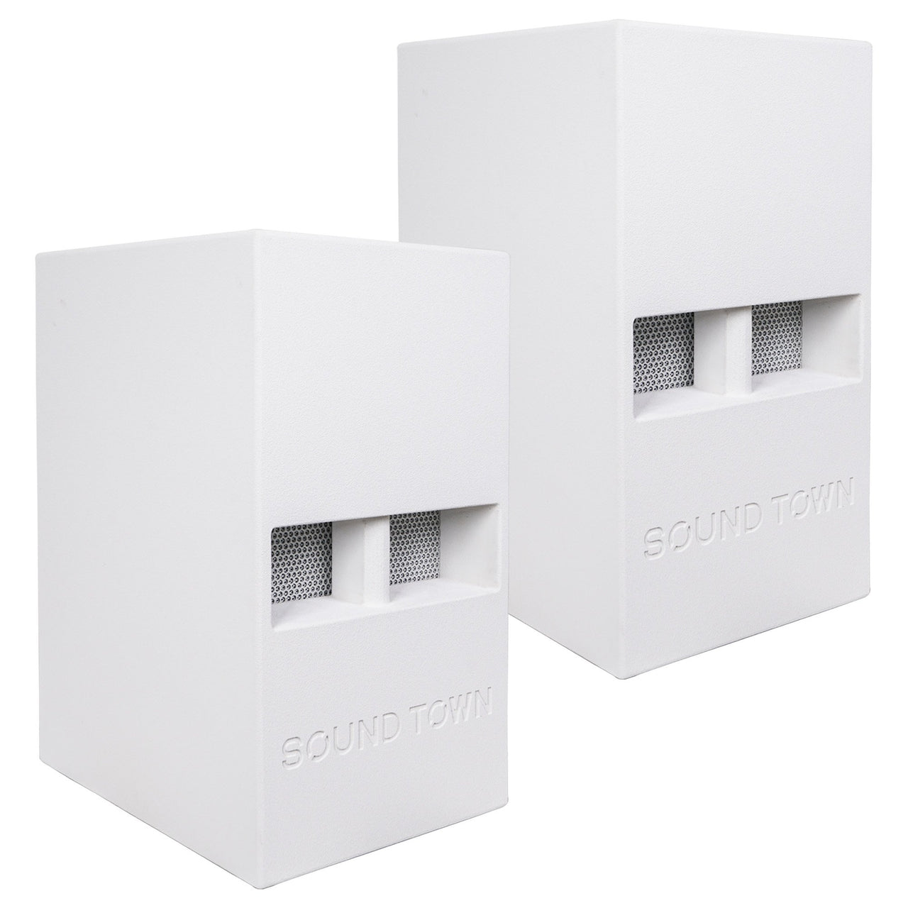 "Sound Town CARME-112SWPW-PAIR CARME Series Pair of 12"" 800 Watts Powered PA DJ Subwoofers with Folded Horn Design, White"