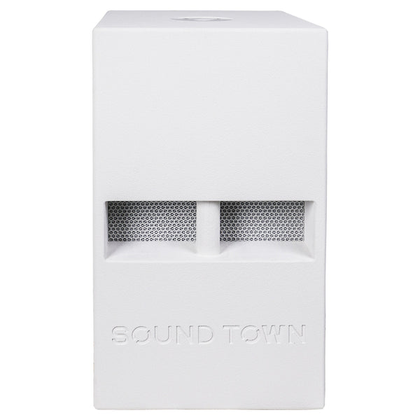 "Sound Town CARME-112SWPW CARME Series 12"" 800W Powered PA/DJ Subwoofer with Folded Horn Design, White - Front Panel"