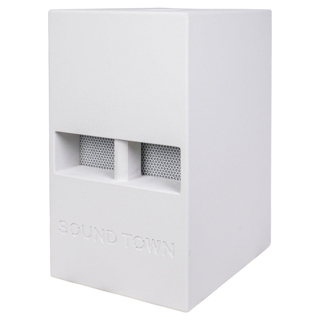 "Sound Town CARME-112SWPW CARME Series 12"" 800W Powered PA/DJ Subwoofer with Folded Horn Design, White - Left Panel"
