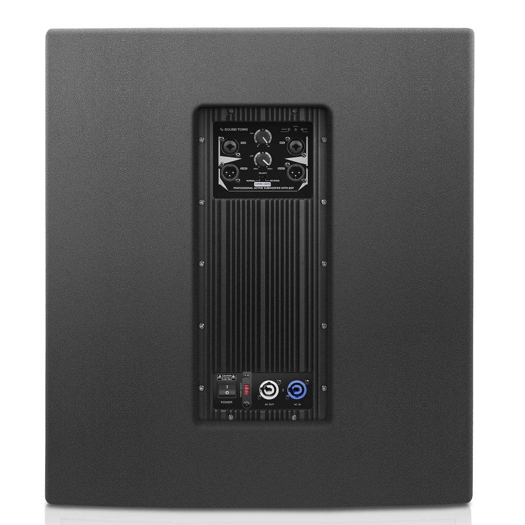 "Sound Town CARME-115BPW18SPW CARME Series 1600W 18"" Powered Subwoofer with DSP, Plywood, Black, PA System - Back Panel"