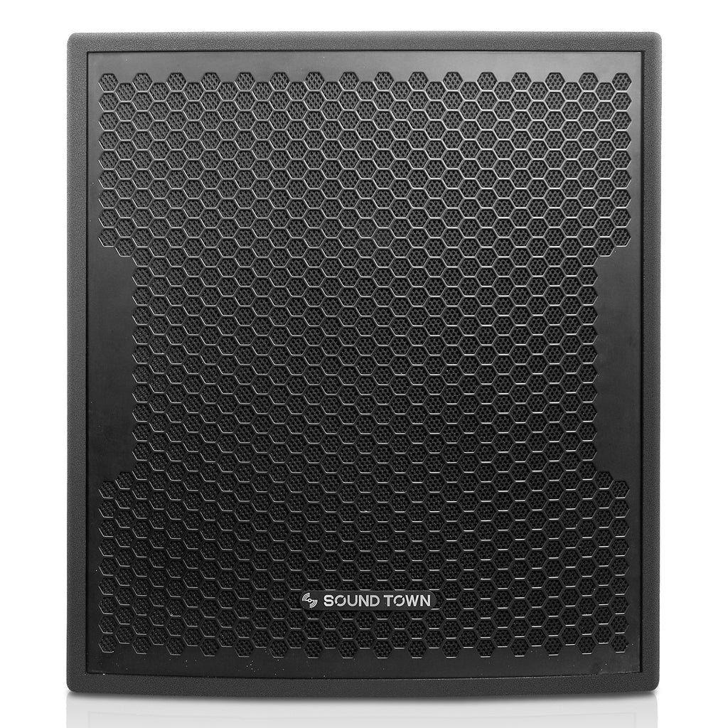 "Sound Town CARME-115BPW18SPW CARME Series 1600W 18"" Powered Subwoofer with DSP, Plywood, Black, PA System - Front Panel"