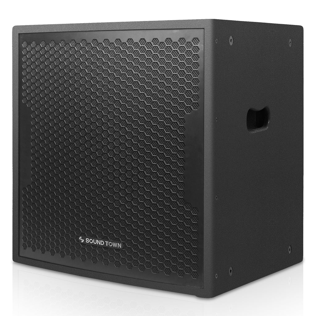 "Sound Town CARME-115BPW18SPW CARME Series 1600W 18"" Powered Subwoofer with DSP, Plywood, Black, PA System - Left Panel"