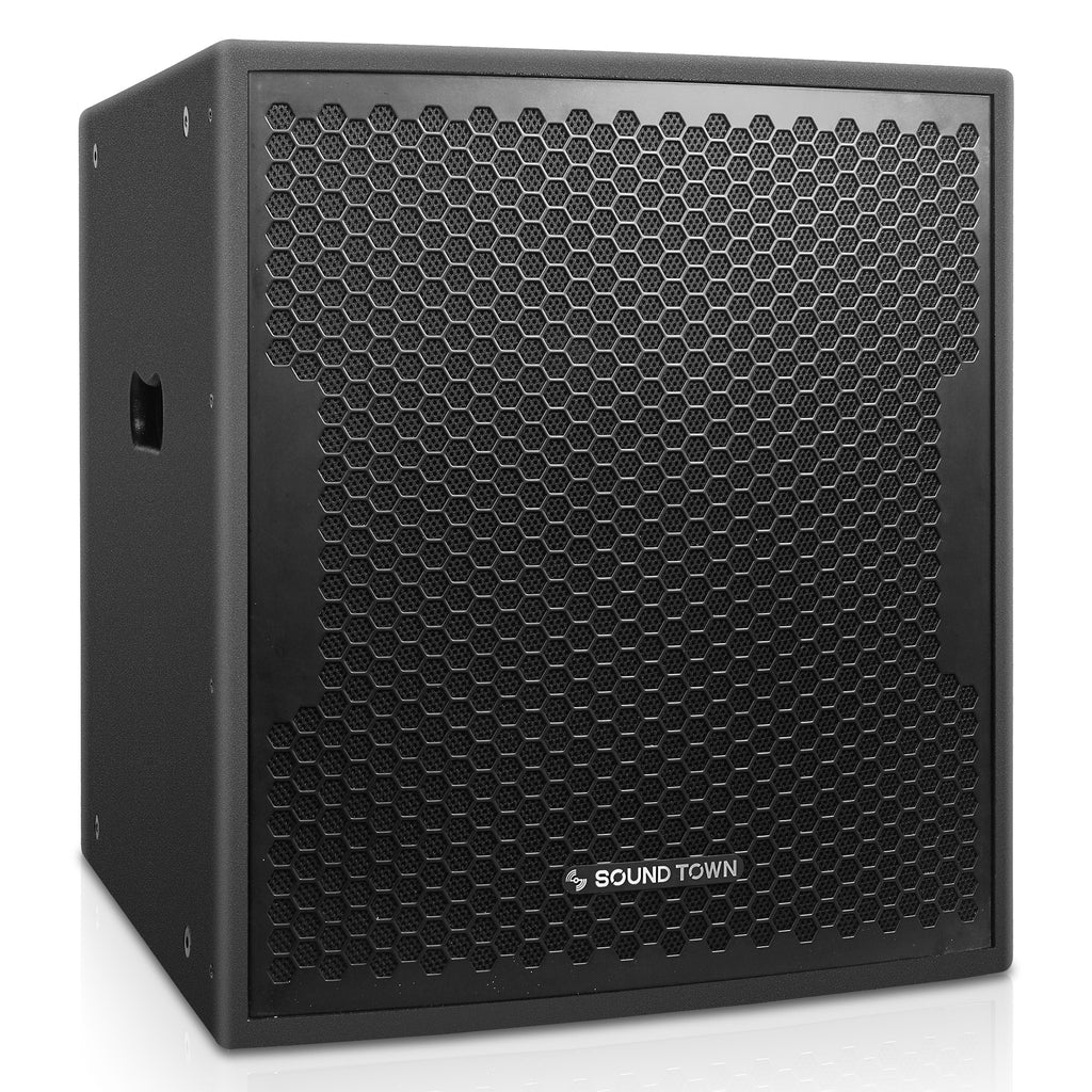"Sound Town CARME-115BPW18SPW CARME Series 1600W 18"" Powered Subwoofer with DSP, Plywood, Black, PA System - Right Panel"