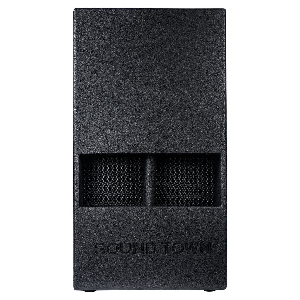 "Sound Town CARME-15DSPW CARME Series 15"" 1000W Powered PA DJ Subwoofer with Folded Horn Design, Class-D Amplifier and Built-in DSP, Black for Live Sound, Stage, Lounge, Club - Front Panel"