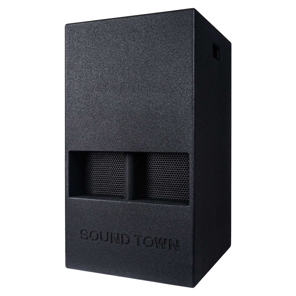 "Sound Town CARME-15DSPW CARME Series 15"" 1000W Powered PA DJ Subwoofer with Folded Horn Design, Class-D Amplifier and Built-in DSP, Black for Live Sound, Stage, Lounge, Club - Left Panel"