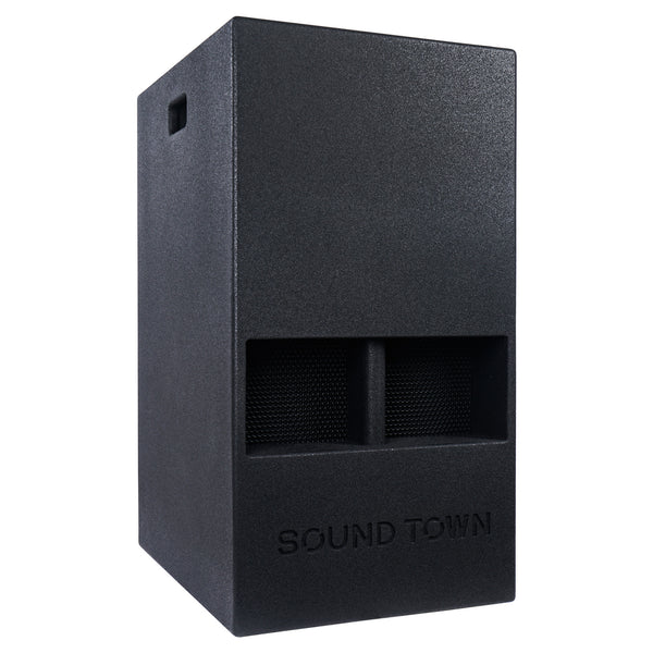 "Sound Town CARME-15DSPW CARME Series 15"" 1000W Powered PA DJ Subwoofer with Folded Horn Design, Class-D Amplifier and Built-in DSP, Black for Live Sound, Stage, Lounge, Club - Right Panel"