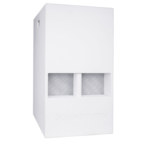 "Sound Town CARME-15DSWPW CARME Series 15"" 1000W Powered PA DJ Subwoofer with Folded Horn Design, Class-D Amplifier and Built-in DSP, White for Live Sound, Stage, Lounge, Club - Right Panel"