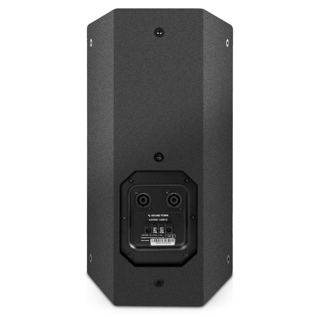 "Sound Town CARME-U108B-PAIR Pair of CARME Series 8"" Passive 350W 2-Way Professional Wall-Mount Stage Monitor Loudspeaker, Black with Compression Driver and U Bracket for Commercial Audio Installation, Live Sound, Karaoke, Bar, Church - Back Panel"