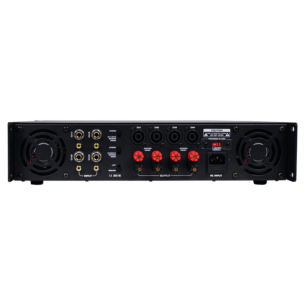 CARME-U108BNIX 4-Channel 4 X 750W at 4-ohm, 6000W Peak Output Professional Power Amplifier - Back Panel
